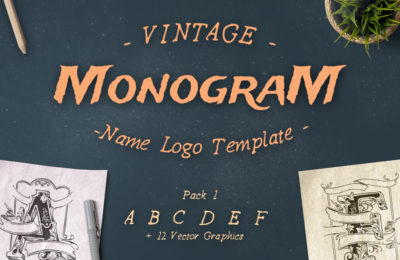 FREE! Vintage Monogram Name Logo Template